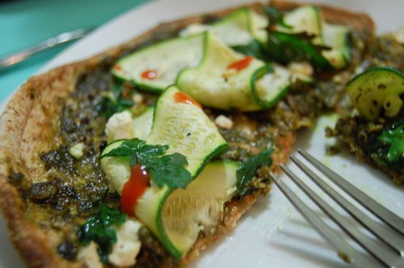 pizza with swiss chard pesto